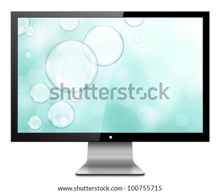 Computer Monitor with natural abstract screen. Isolated on white background.