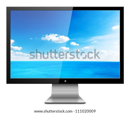 Computer Monitor with sea scape screen. Isolated on white background.