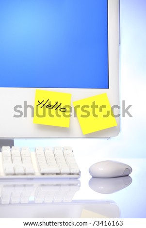 Computer monitor with sticky notes to put your own text
