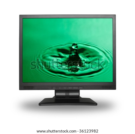 Computer Monitor With Water Splash Wallpaper (Photo Inside Is My