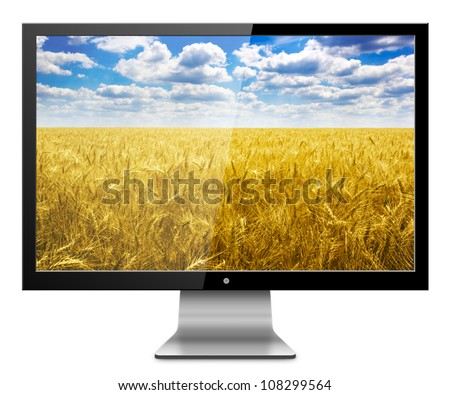 Computer Monitor with wheat field screen. Isolated on white background.
