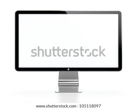 Computer monitor with white blank screen isolated on white background