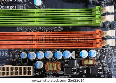 computer motherboard detail - memory slots