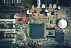 Computer motherboard. Motherboard digital chip. Technology background