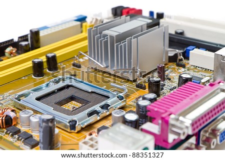computer motherboard on white background - stock photo