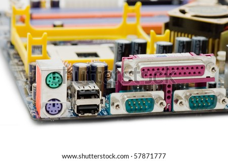 Computer motherboard rear panel  isolated on white background