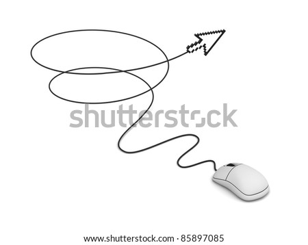 Computer mouse and arrow cursor, Internet concept