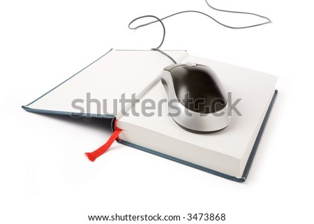 computer mouse and book, concept of online education