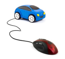 Computer mouse and car isolated on white background