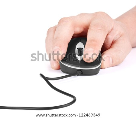 Computer Mouse, and hand close up