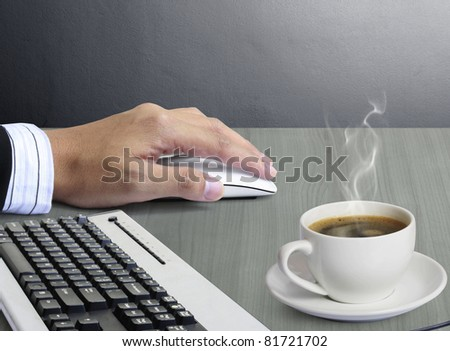 computer mouse and keyboard in hands