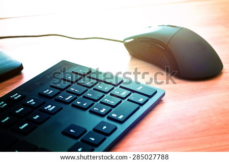 Computer mouse and keyboard on the office table. Computer technology conceptual image.