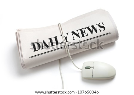 Computer mouse and Newspaper Roll with white background