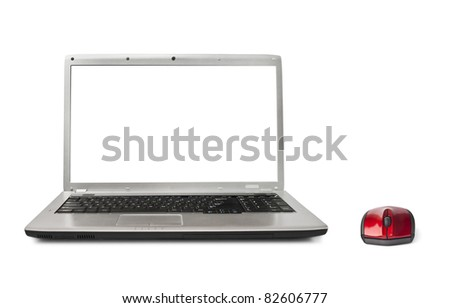 Computer mouse and notebook isolated on white background