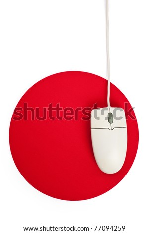 Computer Mouse and red Mouse pad close up