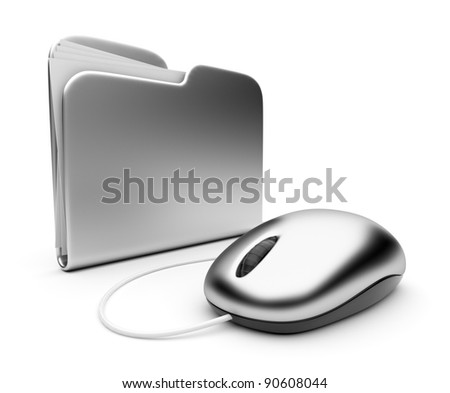 Computer mouse and silver folder.  3D illustration isolated on white