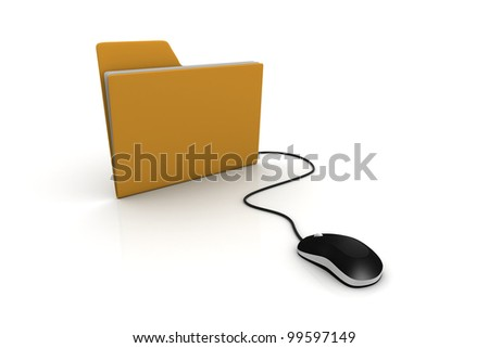 Computer mouse and yellow folder