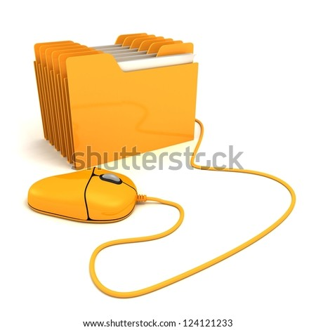 Computer mouse and yellow office folder