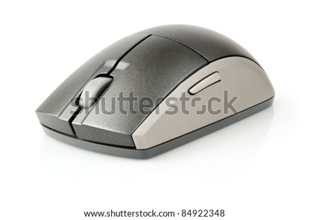 computer mouse black and grey isolated on white background