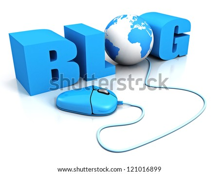 computer mouse connect to word BLOG with earth globe