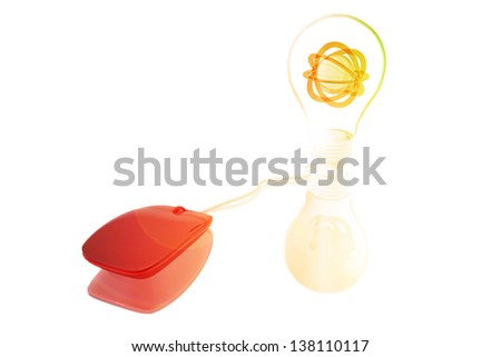 Computer mouse connected to a lightbulb