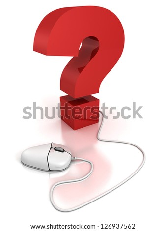 computer mouse connected to a question mark. FAQ concept