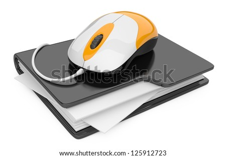 Computer mouse connected to black folder. 3D illustration isolated on white