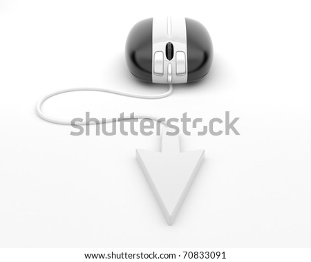 Computer mouse.  3d illustration, on background white