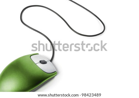 Computer mouse - Green on white background #98423489