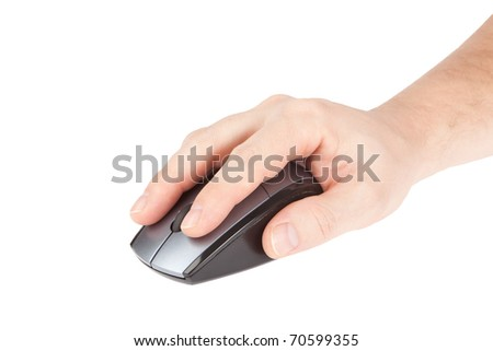 computer mouse in hand man isolated on white background