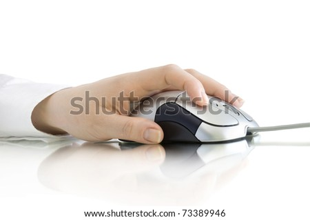 computer mouse in hand with reflection isolated on white