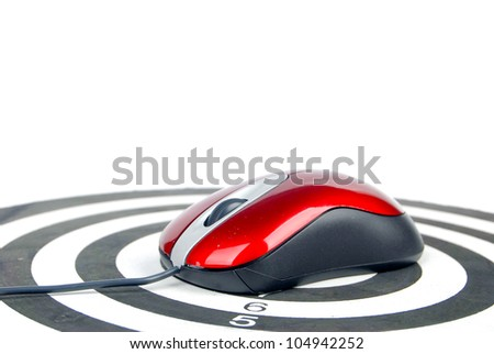Computer mouse on dart board