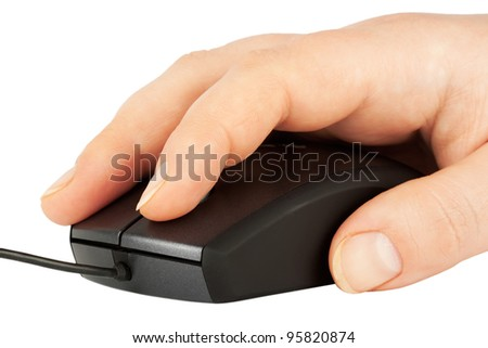 Computer mouse with a hand on top on th white background