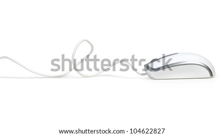 computer mouse with cable isolated on white