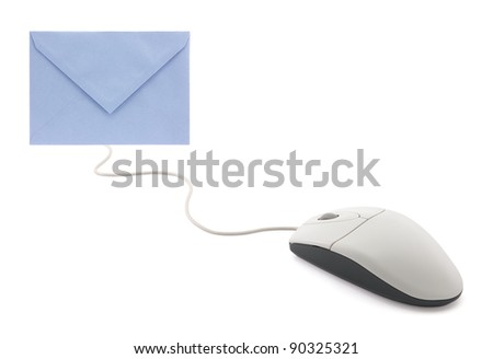 Computer mouse with envelope, concept of email
