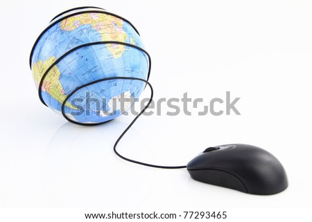 Computer mouse wraps the world globe