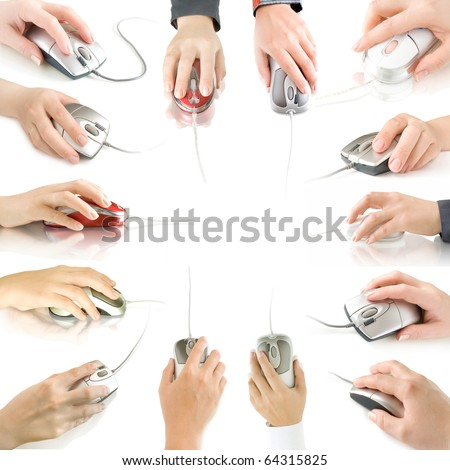computer mouses in hand collection isolated on white  with reflection