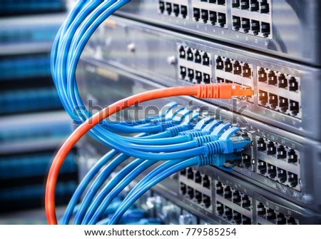 Computer Network Cables Connected to Internet Switch.