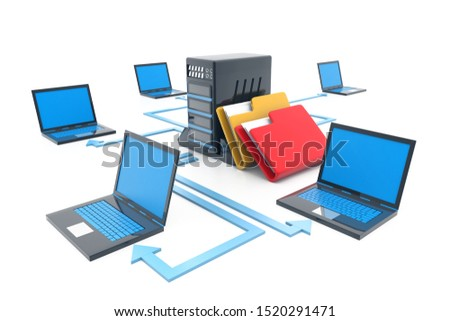 Computer network. Internet technology. Group techniques of networked. 3d illustration