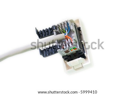 Computer network socket patched, white background