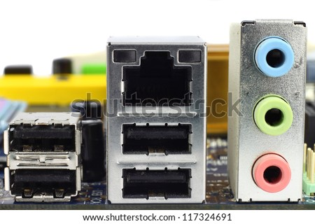 Computer network, USB, sound and game sockets block closeup