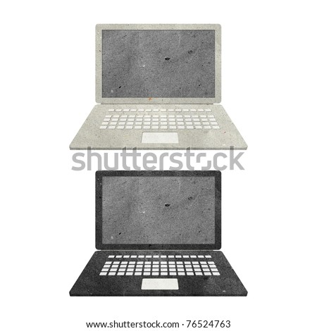 computer notebook recycled paper craft stick on white background