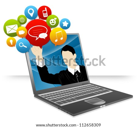 Computer Notebook With Businessman Pointing to Colorful Social Network Icon Isolate on White Background For Social Network and Online Communication Concept