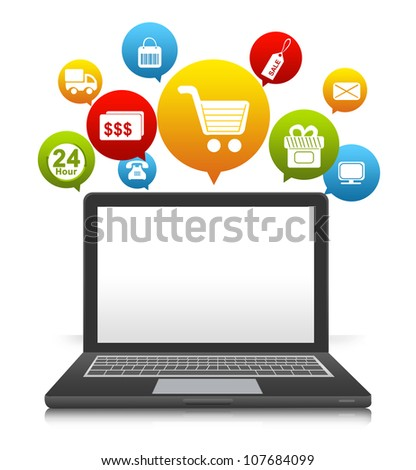 Computer Notebook With Some Space For Text Message on Screen and Online Shopping Icon Above Isolate on White Background