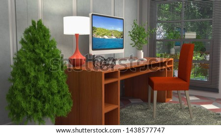 Computer on office table. 3d illustration #1438577747