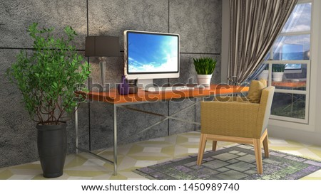 Computer on office table. 3d illustration. #1450989740