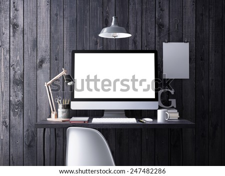 Computer on table. 3D rendering.