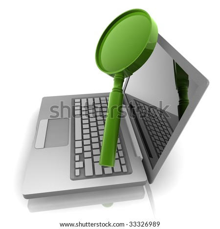 Computer online search information with magnifying glass and notebook