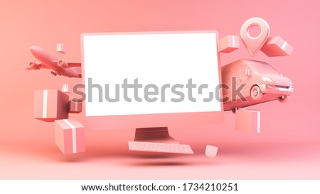 Computer online shopping concept 3d rendering stock photo