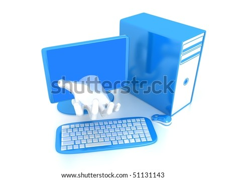Computer over white background . 3d render